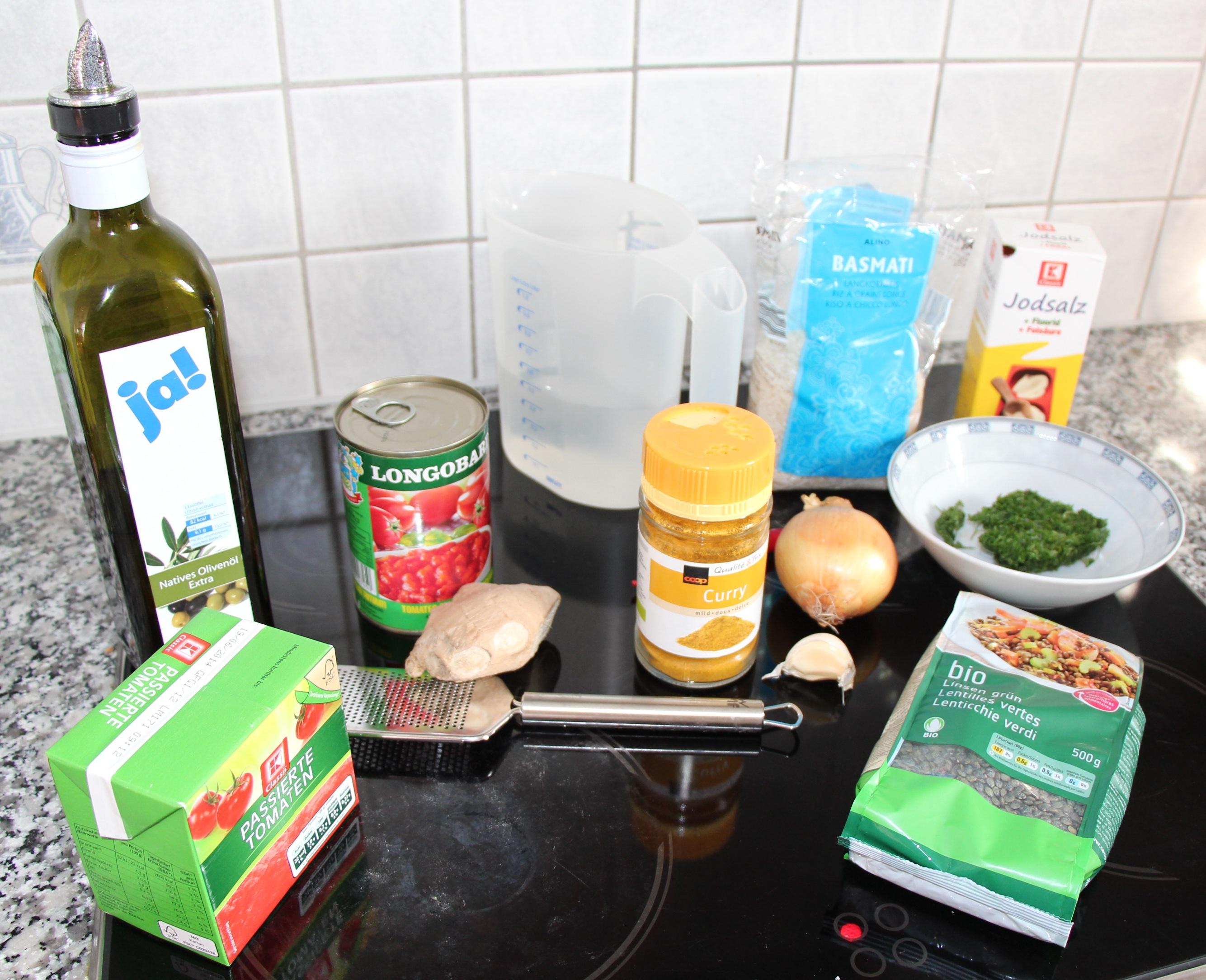 Zutaten für das Tomaten-Linsen-Curry