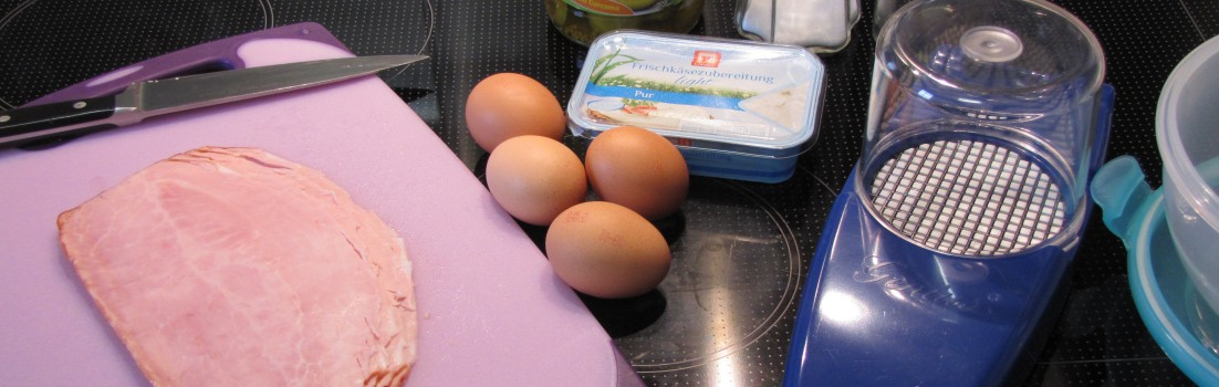 Zutaten Eiersalat mit Schinken als Sattmacher