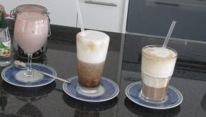Frappuccino, Bananen-Frappuccino und Mouse au Chocolat super light